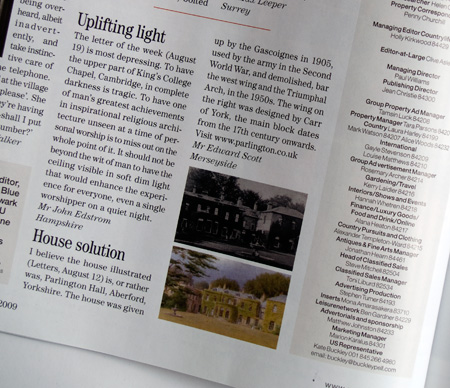 Country Life Magazine, Letter